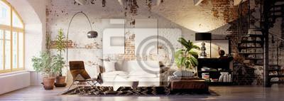 Bild vintage brick loft apartment with emty canvas