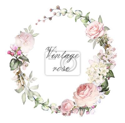 Vintage Card Aquarell Hochzeit Einladung Design Mit Rosa Rosen