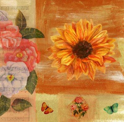 Bild Vintage Collage mit Noten, Schmetterlinge, Rosen und sunflow