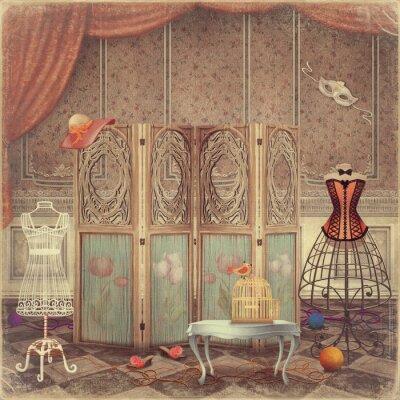 Vintage Dummy und ein Bildschirm im Zimmer, modisch und Femini