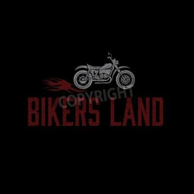 Vintage grunge motorrad mit flammen vektor-grafik-design-vorlage ...