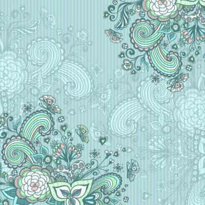 Bild Vintage Hintergrund mit doodle Blumen auf blau