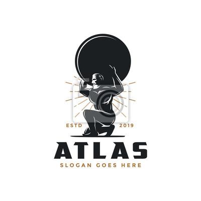 Bild Vintage hipster Atlas god logo icon