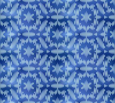 Vintage indigo shibori dyed textile seamless pattern. Ikat ink background.