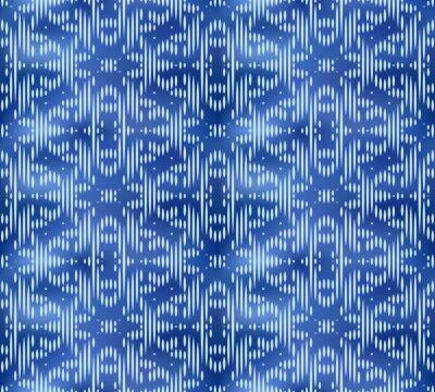 Vintage indigo shibori dyed textile seamless pattern. Japanese ornament ink background.