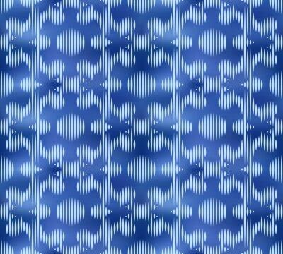 Vintage indigo shibori dyed textile seamless pattern. Japanese tie ink texture.