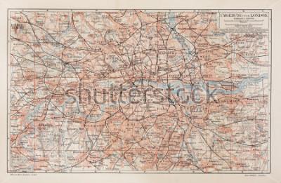 Bild Vintage Karte von London und Umgebung - Bild aus Meyers Lexikon-Büchern (1908).