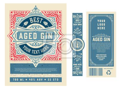 Bild Vintage label with gin liquor design