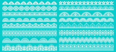 Bild Vintage lace borders. Seamless lace borders for wedding decoration. Figured retro lace pattern elements vector illustration set. Lacy pattern repeat, scroll decorate gorgeous to wedding decoration