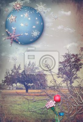 Vintage-Landschaft mit bunten Blumen und Sternenhimmel