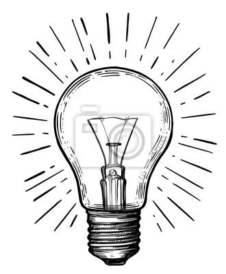 Bild Vintage light bulb in sketch style.
