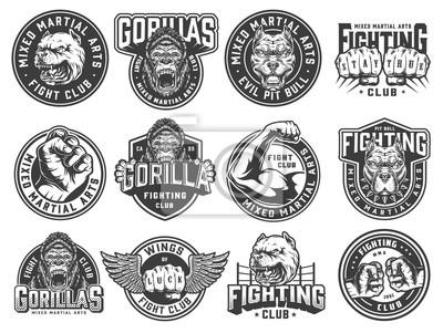 Bild Vintage monochrome fight club labels
