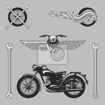 Vintage motorrad-logos, embleme, vorlagen, etiketten, symbole ...