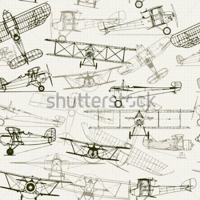Bild Vintage nahtlose Hintergrund. Stilisierte Flugzeugillustrationszusammensetzung. Textur von Millimeterpapier kann deaktiviert werden. Kann für Tapeten, Musterfüllungen, Hintergrund der Webseite, Oberfl