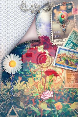 Vintage Postkarte mit Blumen des Frühlings und Briefmarken