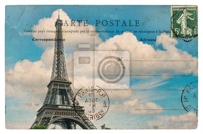 Bild Vintage-Postkarte von Paris mit Eiffelturm über blauen Himmel