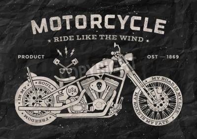 Bild Vintage Rennmotorrad alte Schule Stil. Schwarzweiss-Plakat, Druck für T-Shirt. Abbildung.