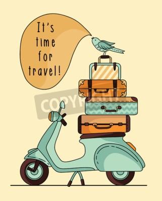 Bild Vintage Roller Poster Design. Roller mit Gepäck