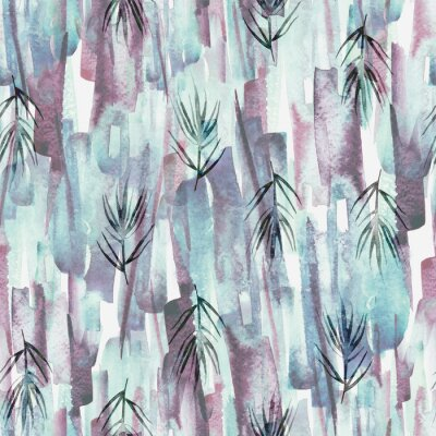 Bild Vintage seamless watercolor pattern of plants, wild grasses, algae, twigs, branch, rosemary, tropical, palm, plant. watercolor stylish pattern. Abstract green of paint splash. Trendy background.
