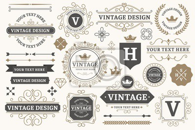 Bild Vintage sign frames. Old decorative frame design, retro ornate label elements and luxurious vintage borders. Premium certificate badge, victorian elegant tag. Isolated vector symbols set