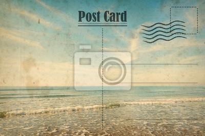 Bild Vintage Sommerpostkarte. Ozean und sonniger Strand