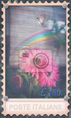 Vintage-Stempel mit Regenbogen und Blumen