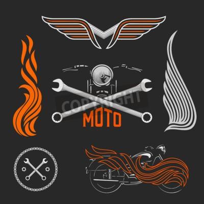 Vintage vektor motorrad-logos, embleme, vorlagen, etiketten ...