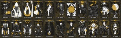 Bild vintage vintage style deck of tarot cards. magical predictions of the future, mysterious characters.