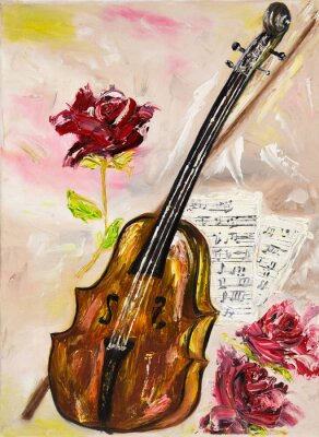 Bild Violine und Rosen