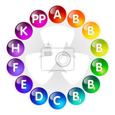 Vitamine mit hellen farben glänzende kugeln für wissenschaft ...