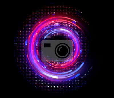 Bild Vivid abstract background. Beautiful design of rotation frame.  .Mystical portal. Bright sphere lens. Rotating lines. Glow ring. .Magic neon ball. Led blurred swirl. Spiral glint lines.