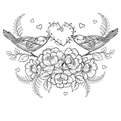 Vögel mit herz und rosen für die anti stress malvorlage