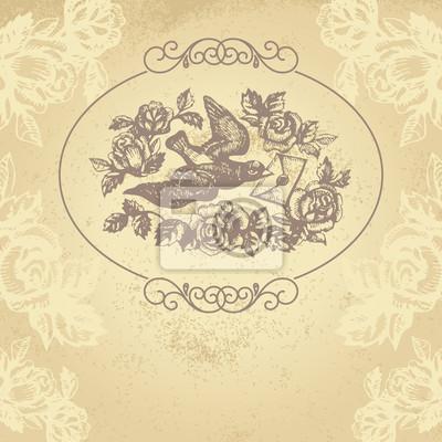 Vogel mit Liebesbrief und Blumen. Hand gezeichnete Illustration