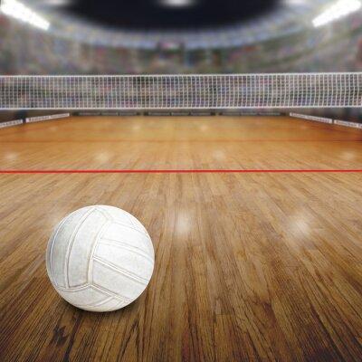 Volleyballplatz Mit Ball Auf Holzboden und Textfreiraum