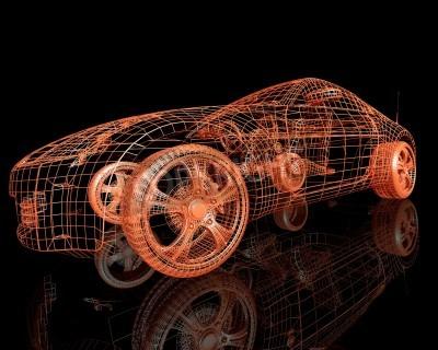 Bild Vorderansicht der modernen vorbildlichen Autos 3d übertragen auf schwarzem Hintergrund