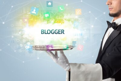 Waiter serving social networking concept with BLOGGER inscription