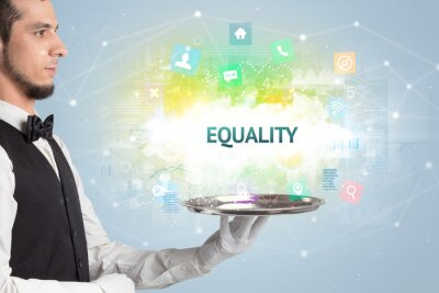 Waiter serving social networking concept with EQUALITY inscription