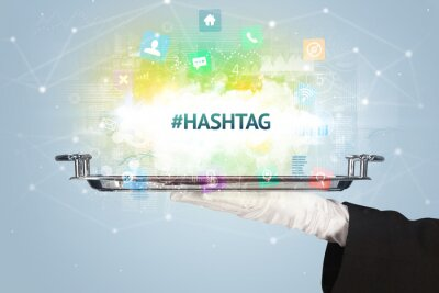 Waiter serving social networking concept with #HASHTAG inscription