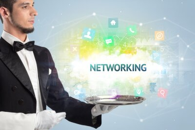 Waiter serving social networking concept with NETWORKING inscription