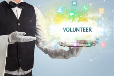 Waiter serving social networking concept with VOLUNTEER inscription