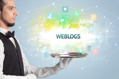 Waiter serving social networking concept with WEBLOGS inscription