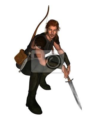 Wald Jäger mit Bogen und Schwert