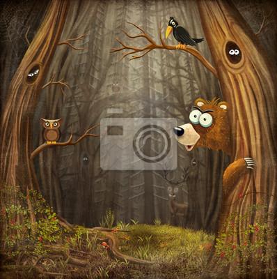 Waldlandschaft mit Tieren