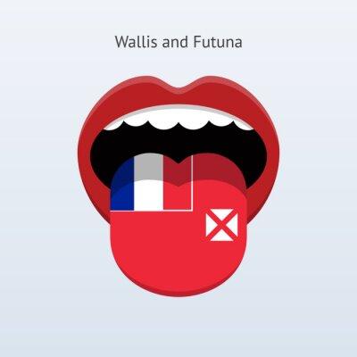 Wallis und Futuna Sprache. Abstrakt menschliche Zunge.