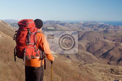 Wandern Mann mit Rucksack