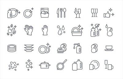 Bild Washing dishes icons thin flat vector set