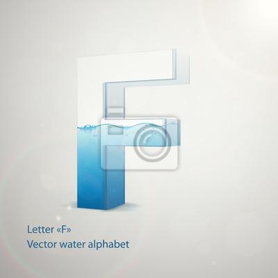 Wasser-Alphabet auf grauem Hintergrund. Vector. Buchstabe F
