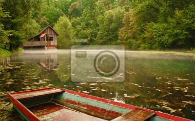 Wassermühle mit Boot