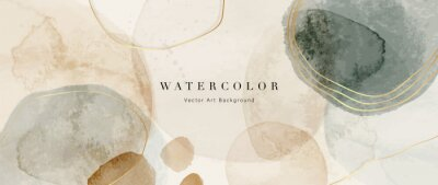 Bild Watercolor art background vector. Wallpaper design with paint brush and gold line art. Earth tone blue, pink, ivory, beige watercolor Illustration for prints, wall art, cover and invitation cards.