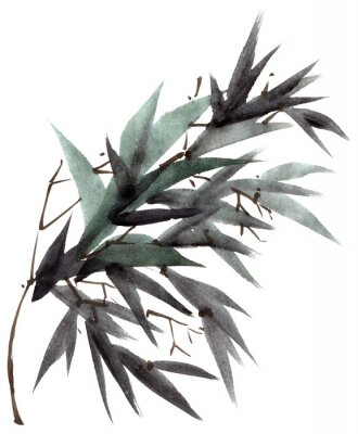 Bild Watercolor bamboo leaves branch
